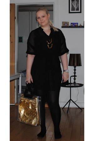 gold pieces necklace - black GINA TRICOT dress - dark gray Only top