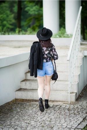 black ankle boots Stradivarius boots - black fedora h&m divided hat