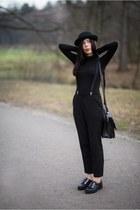black oxfords Even&Odd shoes - black bowler hat H&M hat