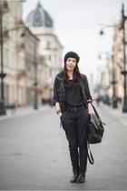 black Bershka jeans - black Stradivarius bag - black moodo blouse