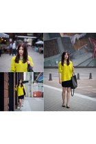 yellow reserved sweater - black reserved skirt