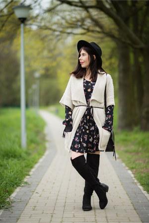 black Ray boots - black flowers c&a dress - black fedora H&M hat