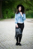 sky blue jeans h&m divided jacket - black creepers H&M shoes