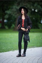 black embroidered H&M shirt - fedora H&M hat - black tassels no name bag