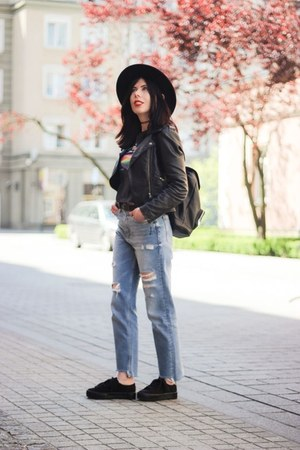 light blue ripped H&M jeans - black fedora H&M hat