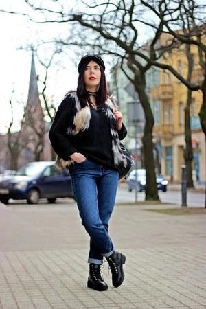 brown faux fur Gosia Baczyńska vest - black military H&M boots