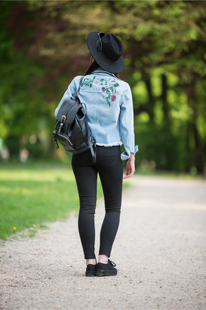 sky blue embroidered H&M jacket - black creepers H&M shoes