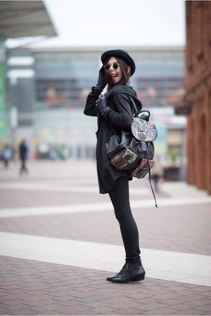 black H&M hat - black Zara boots - light pink Lokaah bag - black H&M pants