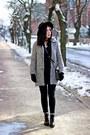 Black-military-stradivarius-boots-dark-gray-wool-no-name-coat