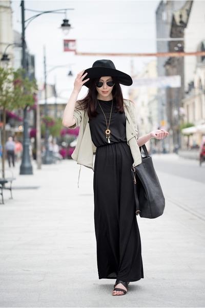 black H&M dress - black H&M hat - lime green reserved jacket