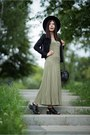 Olive-green-maxi-dress-no-name-dress-black-fedora-h-m-hat