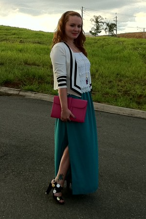 white Madrih blazer - hot pink leather bag Hermes bag - teal silk Topshop skirt