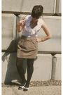 Beige-f21-skirt-white-f21-top-black-target-tights-black-aldo-shoes-gold-