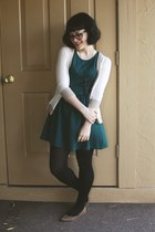 white beige trim Target cardigan - teal scuba skater H&M dress