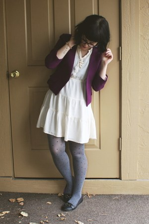 purple H&M blazer - ivory Forever21 dress - heather gray polka-dot Target tights