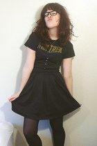 dark gray f21 dress - black walgreens tights - dark gray star trek Hot Topic t-s