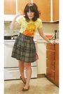 Gray-french-connection-skirt-yellow-modcloth-t-shirt-brown-target-shoes