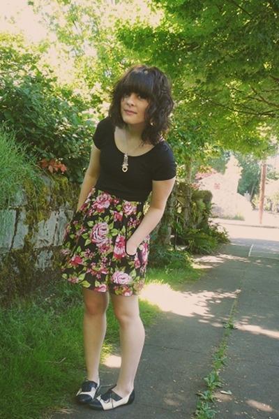 black Wet Seal top - pink Target skirt - black Aldo shoes - silver necklace