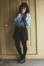 Light-blue-denim-forever21-jacket-dark-brown-vintage-belt-black-h-m-skirt
