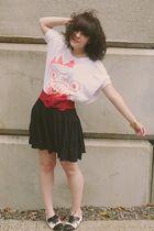 white modcloth top - black Old Navy skirt - red f21 belt - black Aldo shoes - go
