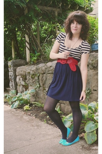 blue dress - blue Target shoes - red f21 belt - black Target tights