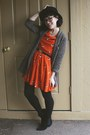 Black-aldo-boots-orange-duck-print-eshakti-dress-black-h-m-hat