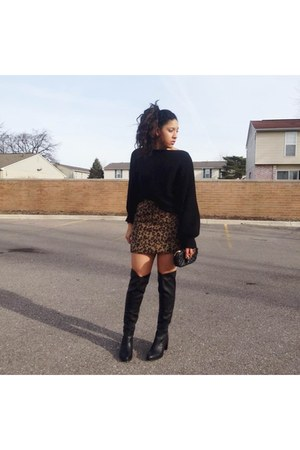 Forever 21 boots - GoJane sweater - Marshalls purse - Topshop skirt
