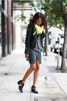 yellow scarf - black Senso boots - leather Anine Bing jacket