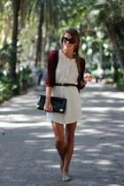 white Zara dress - black coach purse - square coach sunglasses