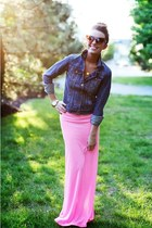 pink American Apparel skirt - denim hm jacket - sunglasses Ray Ban glasses