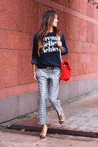 red bag - navy SincerelyJules shirt - grey Mango pants - brown Mango belt