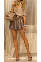 skirt - bag - blouse - heels