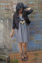 black jacket - gray dress - black necklace - black scarf - gray shoes