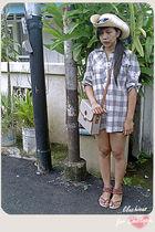 brown shirt - beige hat - beige purse - brown shoes