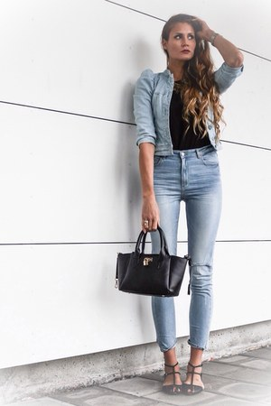 denim Cubus jeans - denim jacket H&M jacket - faux leather Ebay bag