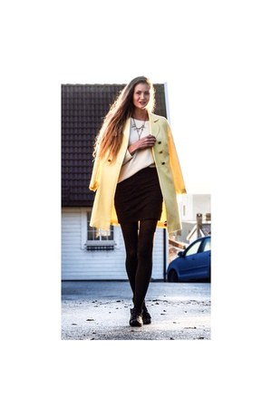 black leather Ippon Vintage boots - yellow bright La Redoute coat