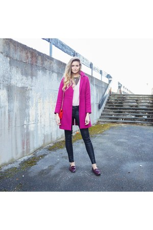 hot pink wool coat - light pink wool sweater - red faux leather bag