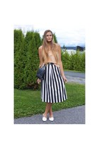 black leather H&M purse - black street style Ezekiel skirt - peach silk H&M top