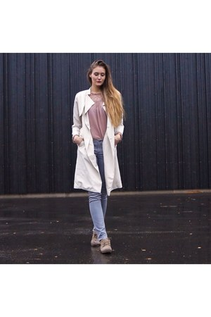 tan fake suede shoes - ivory trench H&M coat - silver neverdenim pants