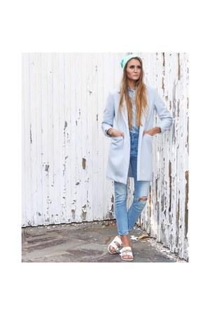 sky blue blazer Bik Bok coat - aquamarine beanie H&M hat