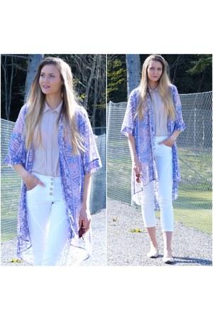 periwinkle kimono cardigan - peach viscose H&M shirt - white skinny jeans pants