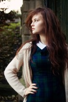 tartan Primark dress - knitted Topshop cardigan