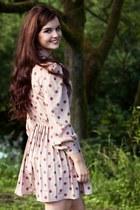 tan suede next boots - camel thrifted vintage dress - beige Topshop socks