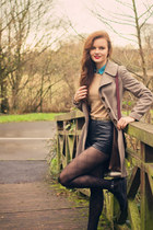 camel Topshop coat - dark gray sheer argyle Marks and Spencer tights