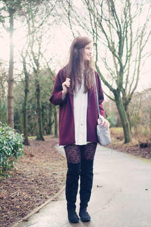 black Market boots - ivory swing Coco Boo Loves dress - maroon new look jacket