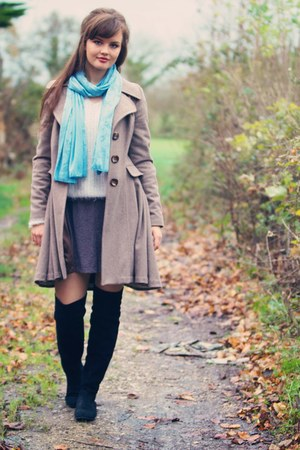 tan wool Topshop coat - black boots - cream fluffy new look sweater