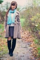tan wool Topshop coat - black boots - cream fluffy new look sweater