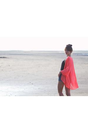 salmon neon kimono H&M jacket - sky blue denim shorts H&M shorts