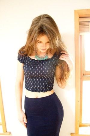 navy bardot Primark top - aquamarine maxi skirt Primark skirt