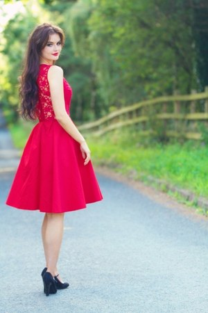ruby red lace Jones & jones dress - black mary janes new look heels
